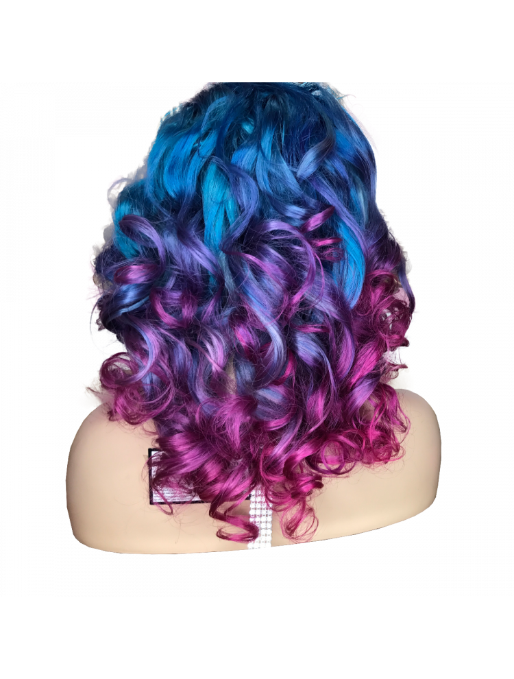 Cotton Candy Virgin Brazilian Wavy Custom Lace Front Wig