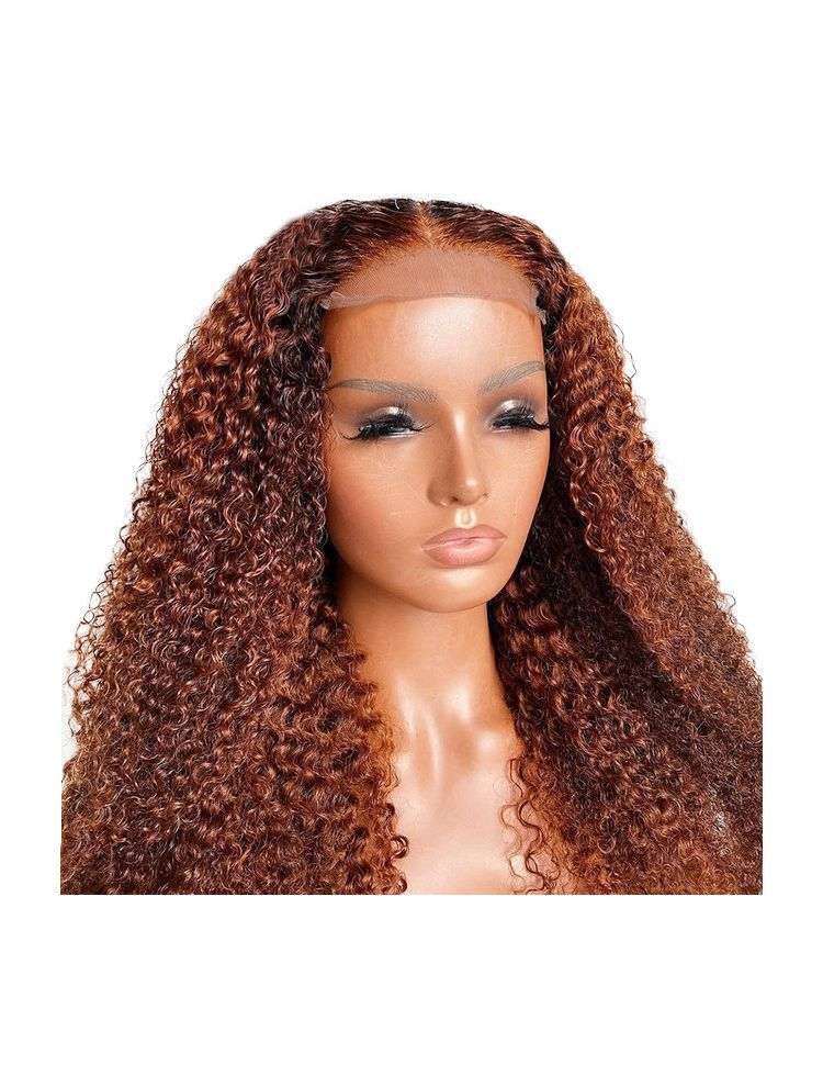 HD Transparent Ginger Virgin Brazilian Natural Curly Lace Front Wig