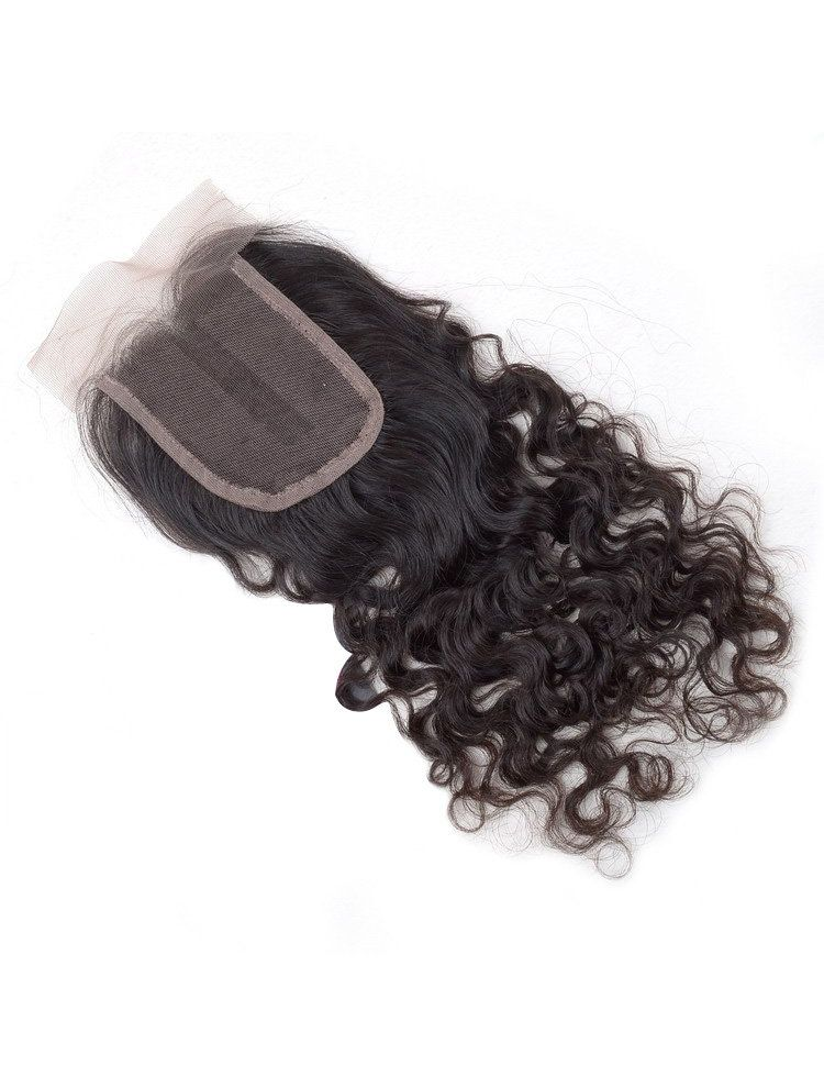 "Wholesale Virgin Indian Remy Natural Curly 4"" x 4"" Lace Closure"