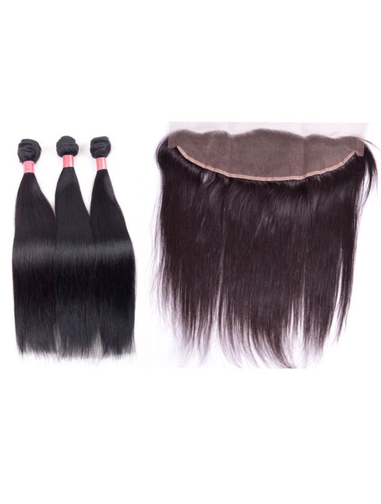 Virgin Brazilian Straight Hair 3 Bundles & Lace Frontal Package