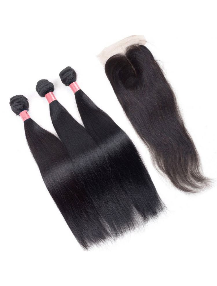 Virgin Brazilian Natural Straight  Bundle & Closure Package