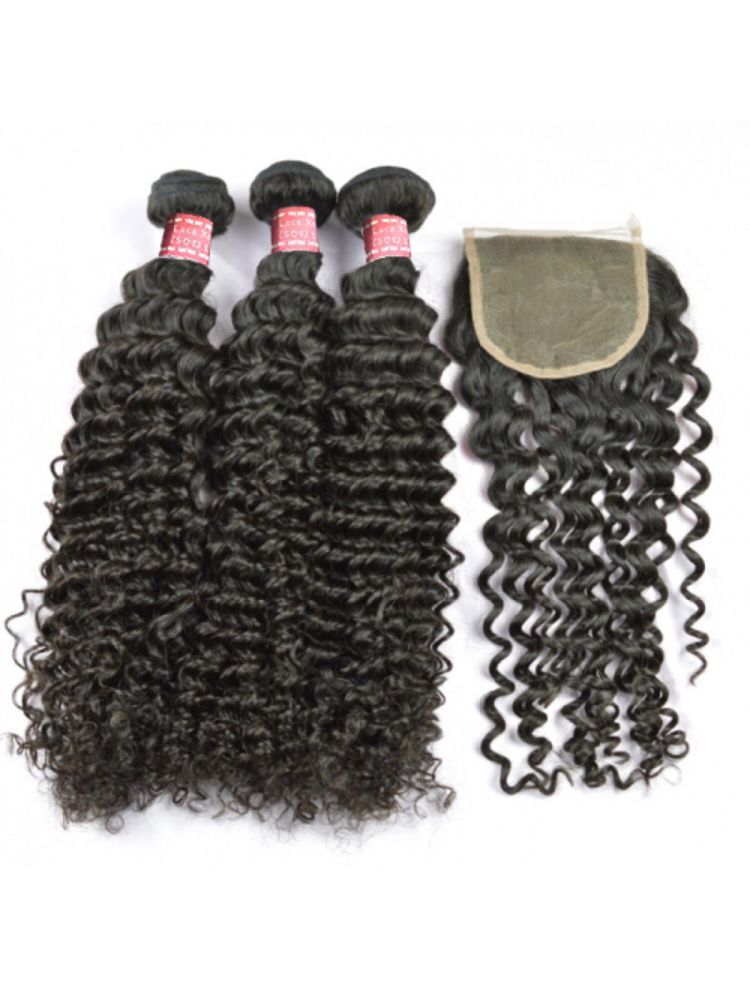 Virgin Malaysian Curly Bundle & Closure Package