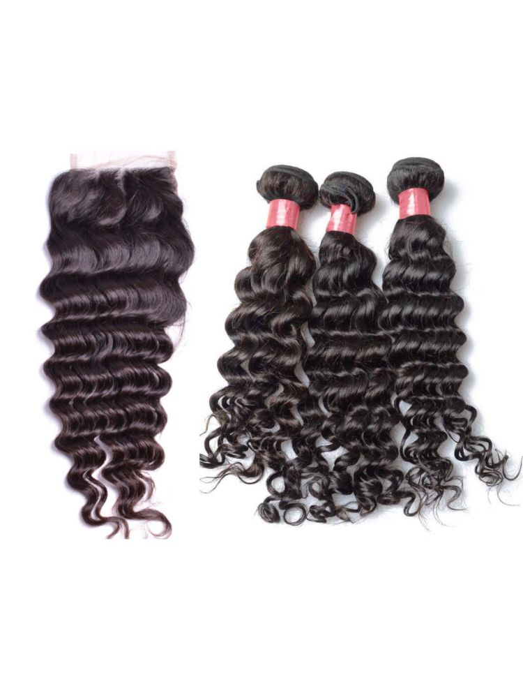 Virgin Brazilian Natural Curly Bundle & Closure Package