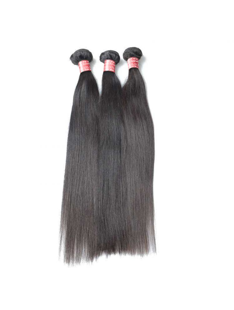 Triple Threat Virgin Peruvian Remy Natural Straight (3 Bundles)
