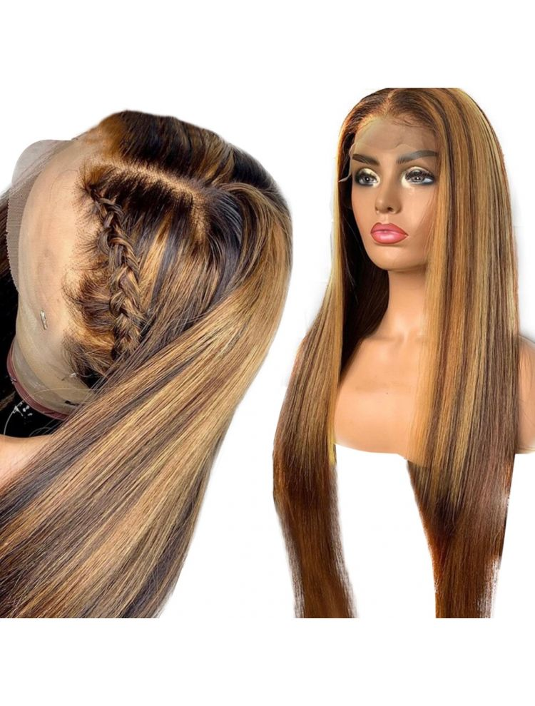HD Transparent Custom Highlighted Virgin Brazilian Natural Straight  Lace Front Wig