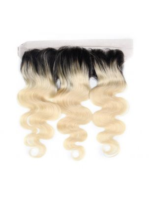 "Virgin European Remy Natural Straight 13"" x 4"" Lace Frontal (Dark Roots)"