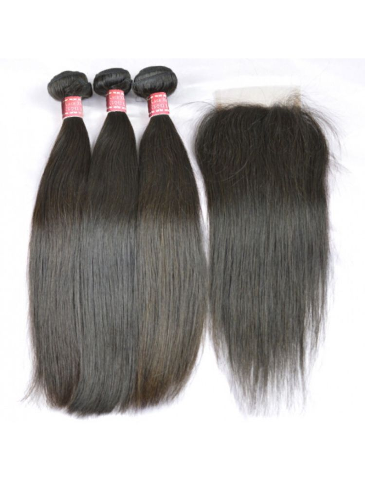Virgin Indian Natural Straight Bundle & Closure Package