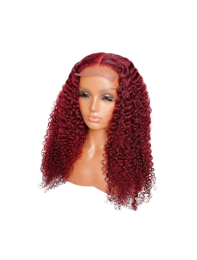 HD Transparent Red Burgundy Virgin Brazilian Natural Curly Lace Front Wig