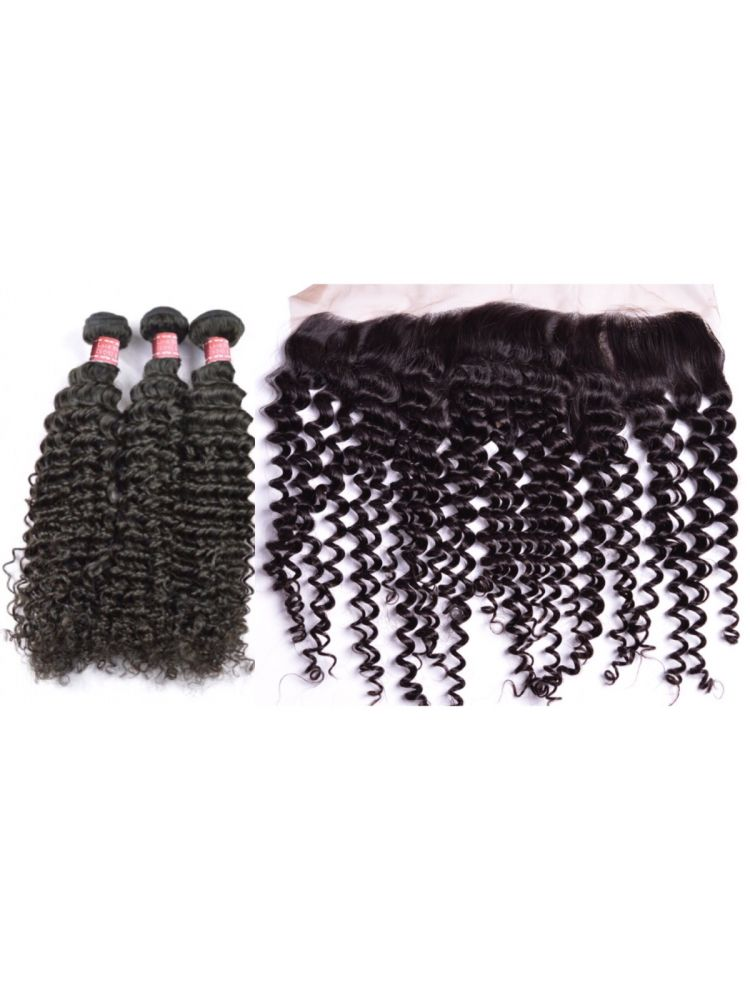 Virgin Malaysian Curly 3 Bundle & Lace Frontal Package