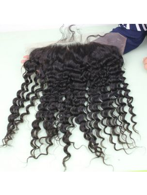 "Virgin Brazilian Remy Curly 13"" x 6"" Lace Frontal"
